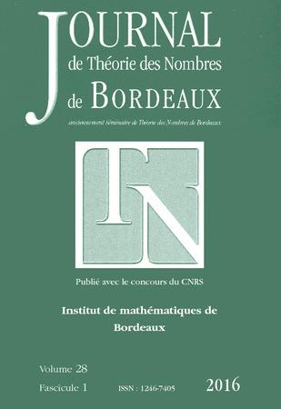 JOURNAL DE THEORIE DES NOMBRES DE BORDEAUX